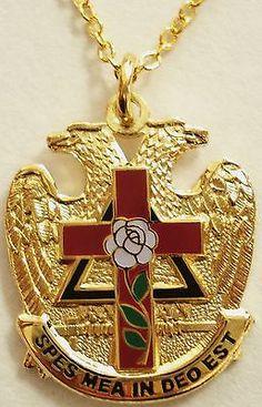 Scottish Rite Rose Croix Cross 32 Degree Masonic Masonry Freemason Pendant Necklace w/chain Masonic Art, Masonic Lodge, Masonic Symbols, Masonic Order, Rose Croix, Templer, Freemasonry, Knights Templar, Chains For Men
