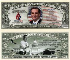 Ted Cruz for President 2016 Million Dollar Bill
