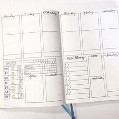 A bullet journal weekly spread is a weekly page layout drawn in advance. Here are some reasons why a weekly spread in your bullet journal can be useful. Bullet Journal Agenda, Bullet Journal Spreads, Bullet Journal Page, My Journal, Bullet Journal Inspiration, Journal Pages, Bullet Journal Layout Daily, Bullet Journal Yearly Spread, Bullet Journal Printables