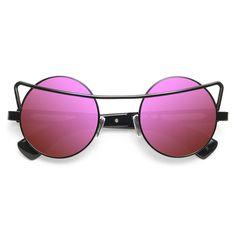 'Goth Steam' Designer Inspired Metal Round Sunglasses - Black/Rainbow - 5557-2