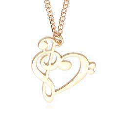 Minimalista moda Simple hueco en forma de corazón nota Musical colgante , collar música joyería oro plata regalo especial