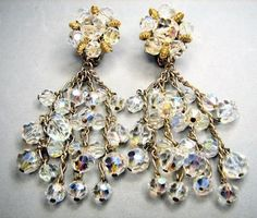 RARE Karu Crystal Aurora Borealis Runway Chandelier Earrings | eBay    http://stores.ebay.com/Caybeth-Collectibles