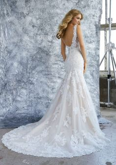 This Mori Lee Bridal 8212 Kristina fit and flare wedding gown is fashioned in diamante-beaded . Western Wedding Dresses, Wedding Dresses Photos, Dream Wedding Dresses, Bridal Dresses, Fitted Wedding Dresses, Fitted Lace Wedding Dress Open Back, Bridal Gown Styles, Ceremony Dresses, Ivory Dresses