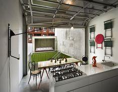 Potence lamp and glass garage door Sliding Curtains, Sliding Wall, Kitchen Dinning, Kitchen Decor, Kitchen Design, Dining Room, Kitchen Ideas, Glass Garage Door, Garage Doors