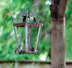 Bird feeder - old lantern w/o glass - glue small bowl in bottom of lantern so birds won't tip it over.