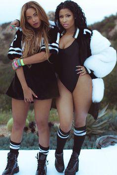 """Behind the scenes from Nicki Minaj and Beyoncé's """"Feeling Myself"""" video shoot"""