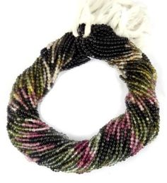 "2 Strands Multi Tourmaline Gemstone Smooth Balls Rondelle Beads 2.5-3mm 13"" Long #luctsa"