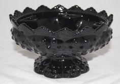 Vintage Jet Black Depression Glass Fenton Hobnail Comport Bowl Vase Stunning   eBay