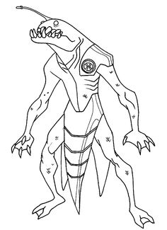 This Ben 10 Coloring Page Of Ripjaws Is So Cool An Alien That Can Swim Really Well