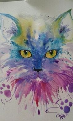 Miao by loretta - cats - Katzen Watercolor Cat, Watercolor Animals, Watercolor Paintings, Cat Drawing, Painting & Drawing, Animal Paintings, Animal Drawings, Tableau Pop Art, Art Aquarelle
