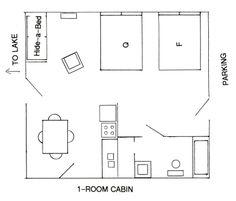 One bedroom model 24 39 x 32 39 view floor plan 16 x 32 for Cabin plans 123