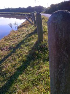 Leaning posts.