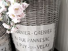 How to mimic the look of Vintage French Gray Baskets:  Annie Sloan Chalk Paint French Linen Wash, Heavy Watery Wash of Old White. by Heaven's Walk