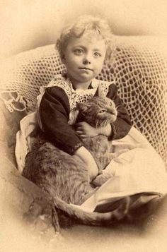 1800s Little Girl Holding Her Kitty Cat