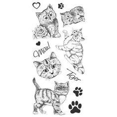 Feinkontur-Stempel, einzelne Motive auf Trägerfolie, Katzen