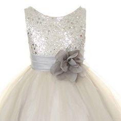 BRIDESMAID WEDDING PARTY PAGEANT FLOWER GIRL DRESS Sequin Glitter Silver Grey #GraduationEasterDressyEverydayHolidayPageantWedding