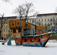 Colorful boat-themed playground in Berlin, Germany -- from our wooden playground series.