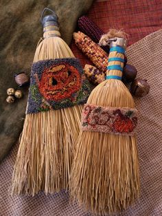 Vintage Halloween Punch Needle Brooms by 1894CottonwoodHouse, $9.00