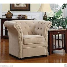 Chair Rolled Tufted Arm Champagne Upholstery Hardwood Frame  8 way tied New #rt #Transitional