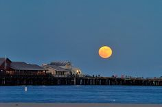 THIS is why we love to live in Santa Barbara! Full moon looking over the wharf and making the water come alive