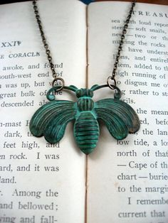 Antiqued Patina Queen Bee Necklace