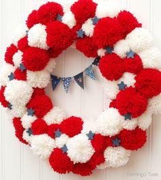 Red White and Blue Pom Pom Wreath