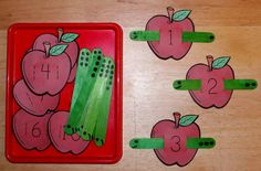 Crafts,Actvities and Worksheets for Preschool,Toddler and Kindergarten.Lots of worksheets and coloring pages. Preschool Apple Theme, Apple Activities, Numbers Preschool, Fall Preschool, Counting Activities, Kindergarten Classroom, Math Games, Teaching Math, Toddler Activities