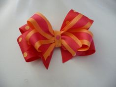 Pink and orange stacked hair bow