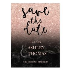 Save the Date Rose gold glitter marble script Postcard - glitter gifts personalize gift ideas unique