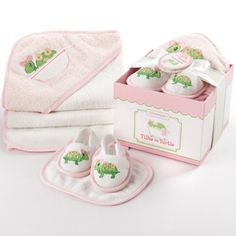 Baby Bath Essentials Four Piece Pink Turtle Themed Baby Gift Set | Baby Shower Gift Idea Tommy the Turtle may take things slow, but when it comes to bathtime, it's go, go, GO!. Our terrycloth Tillie four-piece baby gift set has everything baby needs to stay warm and dry after a turn in the tub!. Made of the finest plush materials and fleece; we guarantee both the new baby and the new parents will ... #OrganicStores #SingleDetailPageMisc