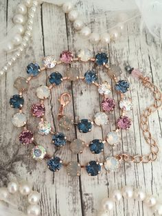 A Comprehensive Guide To Rose Gold Jewelry Rose Gold Choker, Crystal Choker, Rose Gold Jewelry, Swarovski Jewelry, Swarovski Crystals, Blue Necklace, Bridal Necklace, Tennis Necklace, Bridal Jewelry
