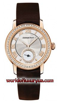 77228OR.ZZ.A082MR.01 - Brushed/Satin finished 18kt Rose Gold case. Bezel set with 54 Top Wesselton IF Quality brilliant (round) cut diamonds weighing approximately 0.45 carats. Silver dial with a spiral guilloche texture in the center. Bold Rose gold applied Roman Numeral hour markers. - See more at: http://www.worldofluxuryus.com/watches/Audemars-Piguet/Jules-Audemars-Lady/77228OR.ZZ.A082MR.01/62_355_3142.php#sthash.X3B9SO88.dpuf