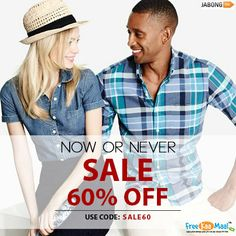 Now or Never Sale! Get Extra 60% OFF on Jabong, with no minimum purchase. Use Coupon: SALE60  Shop Now: http://bit.ly/1iZ39rB