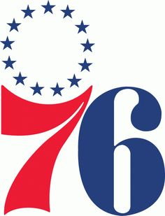 Philadelphia 76ers Primary Logo (1964) - 7 in red 6 in blue with 13 Revolutionary Stars above 7