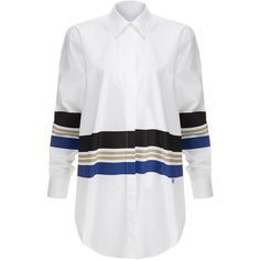 Wood Wood Nima White Stripe Shirt (120 AUD) ❤ liked on Polyvore featuring tops, white, white collar shirt, long sleeve collared shirts, white stripes shirt, cotton shirts and white top