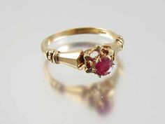 Signed JR Wood Edwardian 14k rose gold .27 ct ruby solitaire ring from sundayandsunday on Ruby Lane