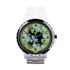 Morning Glories Abstract Pattern Wrist Watch ~ This pretty floral pattern features morning glory blossoms in various shades of blue with white and yellow accents and green leaves.