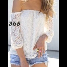 White Lace Floral Crochet Off the Shoulder Blouse This lace blouse is really cute and perfect for everyday wear. It comes in S,M,L sizes so please let me know what size you'd like and I'll create a separate listing for you. It's is made out of cotton. This top is brand new with tags, and comes in a sealed bag. Tops Blouses