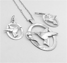 Vintage Sterling Silver Necklace Earring Handmade Jewelry Set Hummingbird Necklace Bird Silver Jewelry, FREE US SHIPPING