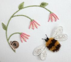 hand embroidered bee and snail