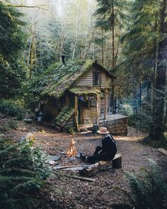 Voice of Nature - greenforestsoul: Forest cabin near Seattle,. Cottage In The Woods, Cozy Cottage, Cabins In The Woods, House In The Woods, House In The Forest, Ideas De Cabina, Tiny House France, Forest Cabin, Forest Home