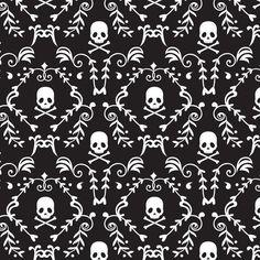 Punk Rock Damask, Skulls, Skull & Crossbones, Black and White - 100% Cotton, By the Half Yard by BaysideFabrics on Etsy