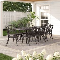 Darby Home Co Meredith 9 Piece Dining Set Swivel Dining Chairs, Dining Furniture, Furniture Making, Outdoor Furniture Sets, 3 Piece Dining Set, Dining Room Sets, Outdoor Dining, Outdoor Decor, Bistro Set