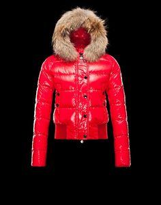 Moncler Damen Alpin Anorak Rot Polyamid/Pelz