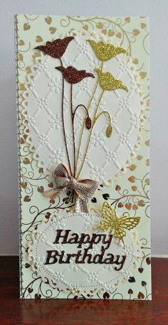 Golden Birthday Tulips. Memory Box Die & Spellbinders Ovals