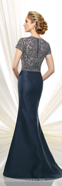 Ivonne D Exclusively for Mon Cheri - 216D45 - Mikado fit and flare dresswith hand-beaded illusion short sleeves and jewel neckline over a sweetheart bodice, sweep train.Sizes: 4 - 20, 16W - 26WColors:Navy Blue, Silver