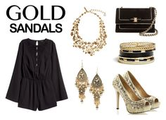 """""""Gold Shoes"""" by milys1998 ❤ liked on Polyvore featuring GUESS, Salvatore Ferragamo, H&M, Oscar de la Renta, gold, black and goldsandals"""