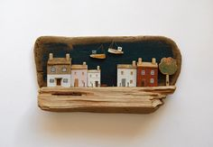 A Living from the Deep Artist: Kim Steeden Driftwood and acrylic picture in painted white wooden box frame White Wooden Box, Wooden Boxes, Kitsch, Miniature Houses, Mini Houses, Paper Doll House, Putz Houses, Timber House, Glitter Houses