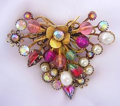 Large Vintage Cluster Brooch Givre or Paste by EclecticDebsVintage