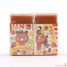 brown cute popcorn bear scented eraser by Kamio from Japan Japanese Stationery, Us Shop, Cute Designs, School Supplies, 1 Piece, Popcorn, Super Cute, Kawaii, Pattern